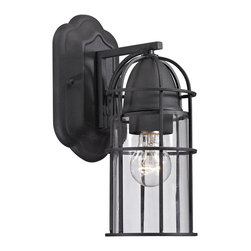 Elk Lighting - Rowland 1-Light Outdoor Sconce in Charcoal - This outdoor fixture has a rustic cage design with clear glass and a charcoal finish to enhance it's antique charm.