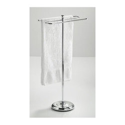 Taymor - Taymor Floor Standing Bath Towel Valet in Chr - Floor standing. Weighted base. Holds two full size bath towels. Can also hold two hand towels. Wipe with clean and soft damp cloth. Do not use polishes, chemicals or abrasives. Manufacture Warranty: 1 year. Made from plated steel. Minimal assembly required. Arms: 16.5 in. W. Overall: 11 in. dia. x 35.5 in. H (15 lbs.)