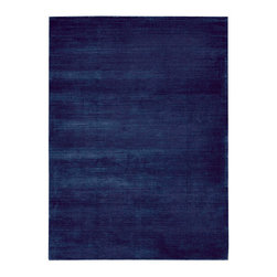 """Calvin Klein Home - Calvin Klein Home CK18 Lunar LUN1 3'6"""" x 5'6"""" Klein Blue Area Rug 10857 - Alternating high and low-lying pile yarns highlighted in a rich semi precious tones of chestnut. Plush, velvet-like fibers are combined in an understated graphic manner, forming a sculptural ribbed pattern emluating the look of a tibetan rug."""