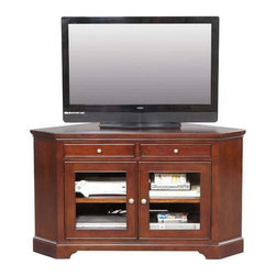 """Winners Only, Inc. - Topaz 58"""" Corner TV Stand - The Topaz 58'' Corner Media Base by Winners Only fits conveniently into a corner space and features central glass doors, adjustable shelves, and 2 accessory/peripheral drawers with full extension ball bearing drawer glides and English dovetail drawer construction. Features: -Glass center doors.-Adjustable shelf.-2 accessory / peripheral drawers.-Full extension metal ball bearing drawer glides.-Wire management holes.-English dovetail drawer construction.-TV Size Accommodated: Accommodates up to a 55"""" wide TV.-Powder Coated Finish: No.-Gloss Finish: No.-Material: Hardwood and veneer.-Solid Wood Construction: No.-Distressed: No.-Exterior Shelves: No.-Drawers: Yes -Number of Drawers: 2.-Drawer Glide Material: Metal ball bearing glides.-Drawer Glide Extension: Full extension.-Soft Close Drawer Glides: No.-Safety Stop: Yes.-Ball Bearing Glides: Yes.-Joinery Type: English dovetail.-Drawer Dividers: No.-Drawer Handle Design: Knobs..-Cabinets: Yes -Number of Cabinets: 1.-Number of Doors: 2.-Door Attachment Detail: Hinges.-Interchangeable Panels: No.-Magnetic Door Catches: Yes.-Cabinet Handle Design: Knob.-Number of Interior Shelves: 2.-Adjustable Interior Shelves: Yes..-Scratch Resistant: No.-Ventilation Features: Yes.-Removable Back Panel: No.-Hardware Finish: Matte bronze.-Casters: No.-Accommodates Fireplace: No.-Fireplace Included: No.-Media Player Storage: Yes.-Media Storage: Yes.-Cable Management: 6 wire management holes in back panel.-Remote Control Included: No.-Batteries Required: No.-Weight Capacity: 150 lbs.-Swatch Available: No.-Collection: Topaz.-Eco-Friendly: Yes.-Recycled Content: No.-Lift Mechanism: No.-Expandable: No.-TV Swivel Base: No.-Integrated Flat Screen Mount: No.-Non-Toxic: Yes.-Product Care: Mild soap and water, wipe dry with a clean cloth. Wipe up spills immediately..Specifications: -ISTA 3A Certified: No.-CARB 2 Certified: Yes.-CARB Certified: Yes.-FSC Certified: No.-General Conformity Certified: No."""