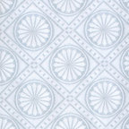 Renovators Supply - Wallpapers White/Blue Textured Vinyl Medallion Wallpaper - Wallpaper. This vinyl wallpaper features beautiful Victorian style embossed MEDALLION motif print. Easy to maintain it is scrubbable, strippable and peelable. This wallpaper is NOT pre-pasted and requires a good quality heavy duty adhesive paste, sold separately. This wallpaper has paper backing. Installation instructions are included. Packaged as a double roll you benefit from longer continuous lengths of usable paper at a great value. Measures 11 yards x 20 1/2 in. W for 56 square feet of usable paper. Vertical repeat is 4 1/4 in. up and down. Horizontal repeat is 4 1/4 in. across.