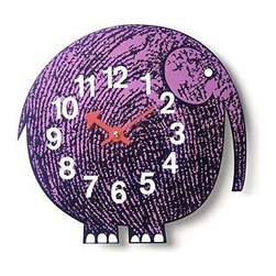 George Nelson - Zoo Timer Elephant Wall Clock - Requires 1 AA battery (not included). Quartz movement . Made of wood. 11 in. L x 1.25 in. W x 10.25 in. HThe George Nelson Elihu the Elephant Clock is beautiful and happy modern wall clock! Perfect for children and adults who are young at heart. This George Nelson wall clock will definitely brighten up any room. George Nelson designed the Elihu The Elephant Clock in 1965. It was part of his happy animal-inspired Zoo-Timer Clock series. The whimsical Nelson Elihu the Elephant Clock has become a classic icon of modern design.