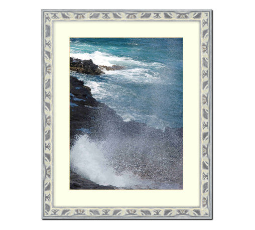 "Frames By Mail - Wall Picture Frame Light Gray Silver Ornate frame - acid-free white matte  , 11x - This 11X14 light gray silver picture frame is imported from Italy.  The frame is 1.25"" wide and has a black back edge. The white matte can be removed to accommodate a larger picture.  The frame includes regular plexi-glass (.098 thickness) foam core backing and can hang either horizontal or vertical."