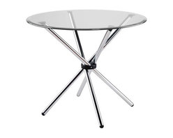Eurostyle - Eurostyle Hydra 36 Inch Round Glass Dining Table w/ Chromed Steel Base - 36 Inch Round Glass Dining Table w/ Chromed Steel Base belongs to Hydra Collection by Eurostyle Make any meal more interesting with the chic look of the Hydra Glass Round Dining Table. This table is sleek, modern, and will instantly enhance any dining area. This fabulous table is an ideal choice for any space seeking that extra touch of glamour, which the Hydra Glass Round Dining Table will effortlessly provide. The Hydra Glass Round Dining Table features a base made of tubular steel. Its base is perfectly paired with a 3/8��_ glass top with a pencil edge polish. The Hydra Glass Round Dining Table is available with your choice of a clear or frosted glass top. Table Base (1), Table Top (1)