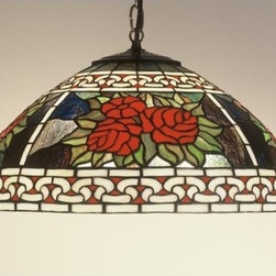 Meyda Tiffany - Meyda Tiffany 51866 Stained Glass / Tiffany Down Lighting Pendant Roses - Antique ReproductionsRoses & Scroll Pendant1 Medium base bulb, 100w (max)Canopy & 3' of chain included