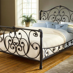 Hillsdale Furniture - Mandalay Sleigh Bed in Rustic Old Brown Finis - Choose Bed Size: KingIncludes bed frame and rails. Mattress not included. Some assemble required. Queen headboard: 65.25 in. W x 2 in. D x 58 in. H. Queen footboard: 65.25 in. W x 2 in. D x 37.5 in. H. King headboard: 81.25 in. W x 2 in. D x 58 in. H. King footboard: 81.25 in. W x 2 in. D x 37.5 in. HOpulent and intriguing, the Mandalay bed is a vision of elegance. The sleigh bed design is accentuated by intricate scrollwork and highly detailed castings that carry from the headboard through the side rails and footboard. The final touch is the rustic Old Brown finish that adds an antique aura to this stately bed.