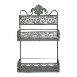 """Enchante Accessories Inc - Wall Mounted 2 Tier Metal Vertical Mail Holder / letter holder (Shabby Green) - Wall mounted metal organizer / mail holder / letter holderDistressed finish gives it a rustic, shabby chic vibeDecorative floral accents and a scrolled top give it vintage Parisian flairCan be used to hold mail, office accessories, or decorative itemsMeasures 14""""W x 22""""H x 6.23""""DDisplay decorative items in any room of the house on this ornate metal wall shelf from the Home Office Collection. The Wall Mounted 2 Tier Metal Vertical Mail Holder / letter holder is made from steel and features durable construction with cut out floral accents, a scrolled accent on the top, and a distressed finish that gives it a weathered, antiqued look. Perfect for use as a mail holder, this shabby chic metal wall organizer offers functional storage space and adds a touch of old Parisian charm to any room in your home or office. This organizer includes two shelves that measure approximately 6"""" deep, making it perfect for holding letters, knickknacks, or other small items.In a foyer, entryway, or office, this wall mounted organizer is the perfect place to sort and store incoming and outgoing mail. Use one shelf for mail that hasn""""t been opened yet and the other shelf for mail that needs to be stamped and sent out. It can also be used to hold wallets, keys, sunglasses, gloves, or the other small accessories that usually just get dropped on a table when you enter the door. The ornate, romantic look also makes this organizer perfect for use in other rooms around the house. In a kitchen, this metal wall shelf can be used to hold small canisters, recipe boxes filled with recipe cards, vintage tea cups, or kitchen linens. As an accent in a bathroom, this organizer can be used to hold apothecary jars, folded hand towels, decorative soaps, or disposable cups and toothbrushes. In a bedroom or living room, this shelf can be used as a shabby chic accent piece to hold all sorts of small items or"""