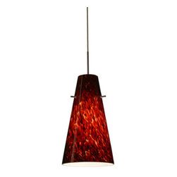 Besa Lighting - Besa Lighting 1JT-412441-LED Cierro 1 Light LED Cord-Hung Mini Pendant - Cierro is a softly tapered narrow cylinder, creating a refined contemporary look. Our Garnet glass is full of floating, vibrant red tones with a mix of black and white tones behind them. When the glass is lit the fiery color palette illuminates to exude a harmonious display. This decor is created by rolling molten glass in small bits of deep red hues called frit along with black glass powders. The result is a multi-layered blown glass, where frit color is nestled between an opal inner layer and a clear glossy outer layer. This blown glass is handcrafted by a skilled artisan, utilizing century-old techniques passed down from generation to generation. Each piece of this decor has its own artistic nature that can be individually appreciated. The cord pendant fixture is equipped with a 10' SVT cordset and an low profile flat monopoint canopy.Features: