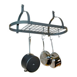 Enclume - Rack It Up Oval Ceiling Pot Rack w Grid - Hanging. Made from hammered steel. Powder coat color. Optional trim cover: 4 in. Dia. x 1 in. H. Optional low ceiling arms: 14 in. W x 1.25 in. W x 6 in. H (3 lbs.). Overall: 34 in. L x 14 in. W x 20 in. H. Includes twelve hooks, hardware and steel anchors. Two trim covers and low ceiling arms are optional. Light weight: 10 lbs.. Grid multiplies the storage capacity and versatility of the rack. Keeps kitchen clean and clutter-free. Stores pots and utensils overhead for easy access. Frees up counter top and cabinet space. Decorative style. Makes cooking more convenient and fun. Optional low ceiling arms with installation bolts and hex wrench. Raises the rack so hanging pots don't block view through kitchen. Warranty: Five years limited. Assembly InstructionsThe Rack It Up Oval Ceiling Pot Rack is especially designed for homes with smaller kitchens, also condos, town homes and apartments.