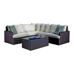 Madbury Road - Capri Sectional with Extender - The Capri (with an extender) is a really popular outdoor sectional. The set has two armless pieces which can be used to make the couch into a L shape. It's also possible to transform it into equal-length pieces on each side.