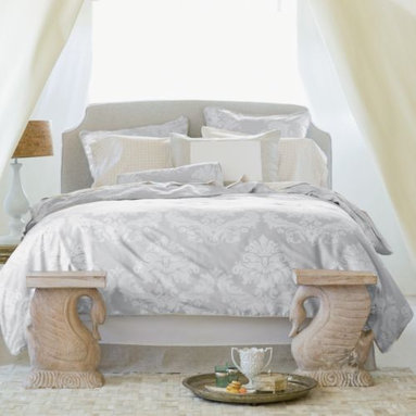Serena & Lily - Tess Duvet - Gorgeously understated, Tess features a grand damask floral in the subtlest color combination. Dove damask with flax linen piping and button closures. Pair with flax linen bed skirt and Color Frame shams for an effect that is naturally grounding.