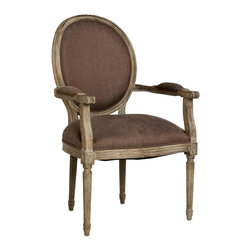 Zentique - Medallion Arm Chair - Aubergine, Limed Grey - Intricately carved wood detail pairs beautifully with your choice of linen upholstery and painted finishes. The classic armchair looks elegant at the head of your dining table or on either side of a sophisticated sofa. This antique style brings subtle grace to any room in your home.