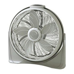 "Lasko Products - Cyclone Fan Gray 20 "" - Lasko 20"" Cyclone with Remote Control; Electronic 8-hour timer for automatic shut-off; Three high performance speeds; Full-tilt air control; Wall-mount option; Top-mounted controls; Easy-carry handle; Fully assembled; Includes a patented, fused safety plug; E.T.L. listed; 23-1/2"" L x 6-3/4"" W x 23-3/16"" H"