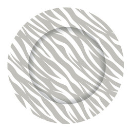 Gray Zebra Charger Plates - Set of 12 - Dine in style with our graphically bold charger plates.  Easily update your table with this striking pattern and fresh color.  Our exclusive collection offers a chic and modern interpretation of a classic accessory.