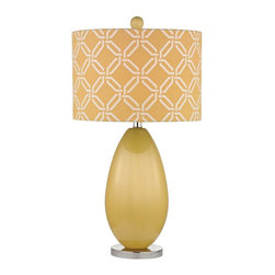 Joshua Marshal - One Light Sunshine Yellow Yellow With White Pattern Print Linen Shade - One Light Sunshine Yellow Yellow With White Pattern Print Linen Shade