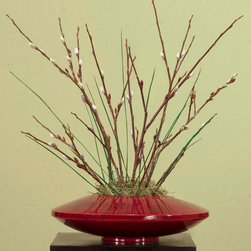 None - Fire and Ice in Bamboo Zen Vase - Vase and floral set is a natural product made from renewable resources Vase is handcrafted from natural bamboo by artisans in Southeast Asia Decorative vase is finished in dark, burgundy red