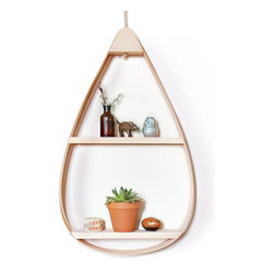 Inova Team -Rustic Handmade Wooden Shelf, Large 2-Shelf - Make a statement on your wall with the Mid-Century Teardrop Shelf. It doubles as convenient, creative storage, with shelving space for frames, decorative plants, and other knickknacks. Handmade in Maine with extra care, you'll enjoy this stylish piece for years to come!