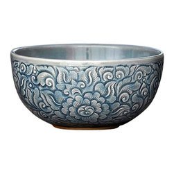 bailanmu - Blue Celadon Bowls - Allover Floral, Medium - Earthy and handcrafted for a warmth to any meal.