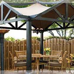 Outdoor Living : Backyard Luxury - This classical pergola will match your traditional home's architectural elements, and add style to your backyard grilling.