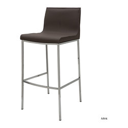 Nuevo Living - Colter Counter Stool, Mink - Wish your busy family would sit down for breakfast? Parking a counter stool or two like this spacious leather one under your kitchen island will do the trick. Now, if you could just get them to remember to turn on the coffeemaker.
