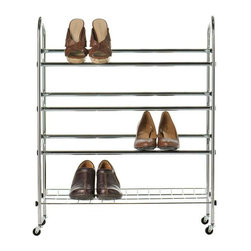 Home Decorators Collection - Rolling Shoe Rack - Perfect for your closet or anywhere in your home, our Rolling Shoe Rack includes a three-tube design to hold your shoes. Keep the rack flat on the ground or use the included wheels for easy mobility. Easy no tool assembly. Durable chrome steel construction.