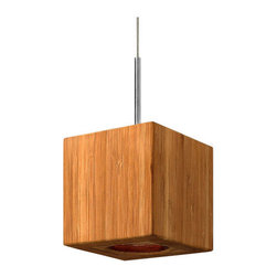 Fredrick Ramond - Fredrick Ramond FR46208 1 Light Square Pendant Zen Collection - Fredrick Ramond FR46208 Zen 1 Light Square PendantZens modern cable hung square pendant design is the ultimate in eco-chic. Constructed with sustainable, environmentally-friendly Bamboo, the pendant also includes one 5watt energy-efficient LED light source and features a contemporary Brushed Nickel canopy.Fredrick Ramond FR46208 Features:
