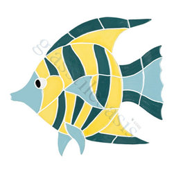 Ocean Pool Mosaic - Large Angel Fish Pool Accents Blue Pool Glossy Ceramic - We offer six lines of in-stock designs ready for immediate delivery including: The Aquatic Line, The Shadow Line, The Hang 10 Line, The Medallion Line, The Garden Line and The Peanuts Line. All of the mosaics are frost proof, maintenance free and guaranteed for life. Our Aquatic Line includes: mosaic dolphins, mosaic turtles, mosaic tropical and sport fish, mosaic crabs and lobsters, mosaic mermaids, and other mosaic sea creatures such as starfish, octopus, sandollars, sailfish, marlin and sharks. For added three dimensional realism, the Shadow Line must be seen to be believed. Our Garden Line features mosaic geckos, mosaic hibiscus, mosaic palm tree, mosaic sun, mosaic parrot and many more. Put Snoopy and the gang in your pool or bathroom with the Peanuts Line. Hang Ten line is a beach and surfing themed line featuring mosaic flip flops, mosaic bikini, mosaic board shorts, mosaic footprints and much more. Select the centerpiece of your new pool from the Medallion Line featuring classic design elements such as Greek key and wave elements in elegant medallion mosaic designs.