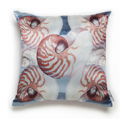Mac Meckley - Blue Nautilus Pillow Case - Artwork is printed on 100% Silk Charmeuse