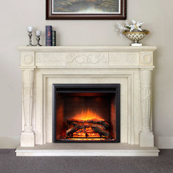Marble Fireplace Mantels - Helena - One of our top of the line marble fireplace mantels, the Helena is as ornate as it is delicate. Full of columns and scrolls, it's a beautiful fixture for your living room.