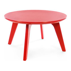 Loll Designs - Satellite End Round 26 Table, Apple Red - In the context of outdoor lounging, a Loll Satellite accent table is a recycled polyethylene object placed into orbit around humans resting in Loll Furniture. Unlike the moon, the Loll Satellite Table actually rotates in conjunction with the Earth and her inhabitants, at just over 1,000 miles per hour, but appears to be sitting still. We think it's time for you to have your very own Satellite... perfect for star gazing on black nights with warm breezes and cold drinks. All Loll Satellite Tables are made with heavy duty 1 inch thick poly and available in an assortment of colors, shapes and sizes.