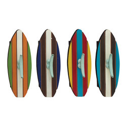 Brightly Designed Wood Metal Wall Hook, Set of 4 - Description:
