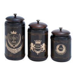 None - Matte Metal 3-piece Canister Set - The ravishing design of these canisters is inspired from classic style furniture pieces and is ideal for lending a refined touch to room settings. These charming canisters are crafted from high grade metal to impart superior durability to the design.