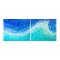 """Gwen Duda Studios - Large Blue Wave Original Acrylic Abstract Painting - This 20"""" x 48"""" original acrylic diptych titled """"Big Wave"""" is absolutely gorgeous and impressive in it's colour, design and presence. It's a very active painting with texture and line flowing like a wave rising, cresting and about to crash - caught in that moment of suspension. This painting washes over you leaving you feeling refreshed, cooled and cleansed in it's presence. The colour of the painting is continued around the sides of the canvas and it is wired and ready to hang as is or can be framed as desired."""