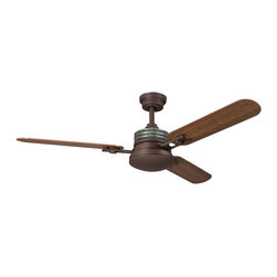 """DECORATIVE FANS - DECORATIVE FANS Structures 52"""" Contemporary Ceiling Fan X-ZO900003 - Warmer finishes give a masculine touch to the contemporary style of this Kichler Lighting ceiling fan. From the Structures Collection, it comes in a rich Olde Bronze finish that compliments the coordinating rich tones of the light umber glass shade. Reversible cherry or walnut fan blades complete the look."""