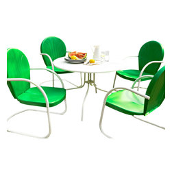 """Crosley - Griffith Metal 40"""" Five Piece Outdoor Dining Set - Griffith Metal 40"""" Five Piece Outdoor Dining Set - 40"""" Dining Table in White Finish with Grasshopper Green Finish Chairs Relax outside for hours on our nostalgically inspired Griffith metal outdoor furniture. Kick back while you reminisce in this seating set, designed to withstand the hottest of summer days and other harsh conditions. The furniture's non-toxic, powder-coated finish is available in various colors to complement your outdoor accessories. Features: Sturdy Steel Construction, Non-Toxic Powder Coated Finish, Available In Several Colors, Easy To Assemble, UV Resistant"""