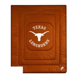 Sports Coverage - The University Of Texas Longhorns Bedding - NCAA Comforter - Full - Show your team spirit with this great looking officially licensed The University of Texas Longhorns comforter. This Longhorns comforter is made from 100% Polyester Jersey Mesh - just like what the players wear. The fill is 100% Polyester batting for warmth and comfort. Featuring authentic Texas Longhorns team colors, each comforter has the authentic University of Texas Longhorns logo screen printed in the center. Soft but durable. Machine washable in cold water. Tumble dry in low heat. Covers are 100% Polyester Jersey top side and Poly/Cotton bottom side. Each comforter has the team logo centered on solid background in team colors. 5.5 oz. Bonded polyester batts. Looks and feels like a real jersey!