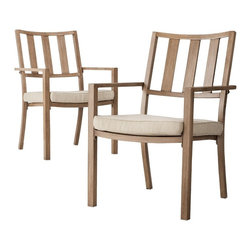Threshold™ Holden 2-Piece Metal Patio Dining Chair Set - Dine outdoors and in style with Threshold Holden Metal Dining Chairs. These outdoor dining chairs sport a classic style with a casual feel. Hand-applied finish gives them the stunning look of teak. But they're actually made with durable aluminum that requires no maintenance and is rustproof.