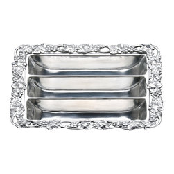 Arthur Court - Grape Flatware Caddy/ Divided Platter - This handsome caddy solves the problem of how to present your flatware the next time you host a party buffet style. Although if your forks, knives and spoons are displayed this elegantly, be prepared to roll out nice china and cloth napkins too.