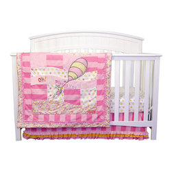 """Trend Lab - Dr. Seuss Pink Oh, The Places You'll Go! - 3 Piece Crib Bedding Set - Oh the places your little one will go! The inspirational Dr. Seuss book, Oh, the Places You'll Go! is beautifully brought to life with this 3 Piece Crib Bedding Set by Trend Lab. Wonderful embroidery is set against a beautiful mix of prints including a charming dot, bold stripe and cute swirl. Trend Lab succeeds in combining Dr. Seuss' charm with beautiful embroidery, multiple textures and wonderful patchwork, providing your baby with a stylish and nostalgic nursery everyone will enjoy. Set includes quilt, crib sheet and skirt. The quilt measures 35"""" x 45"""" and features a beautifully embroidered applique and the phrase Oh, the Places You'll Go! which are set against patches of soft pink velour and printed cotton. A charming dot, bold stripe and cute swirl print are featured in bubblegum, hot pink, lilac, apricot and soft yellow creating the perfect blend of color and style for your baby. A hot pink ruffle trim adds the finishing touch. Reverse of quilt features the dot print. Crib sheet features a cute dot print in bubblegum, hot pink, lilac, apricot and soft yellow on a white background. Sheet features 10"""" deep pockets and fits a standard 52"""" x 28"""" crib mattress. Elastic around the entire opening ensures a more secure fit. Box pleat skirt with 15"""" drop features a bold tonal pink stripe complemented by bubblegum, apricot and hot pink ruffles across the bottom. Matching Dr. Seuss Pink Oh, the Places You'll Go! Crib Bumpers sold separately. Complete your nursery with coordinating room accessories from the Dr. Seuss Pink Oh, the Places You'll Go! collection by Trend Lab. Product sold under license from Dr. Seuss Enterprises, L.P."""
