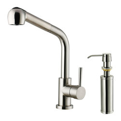 Vigo - Vigo Stainless Steel Pull-Out Spray Kitchen Faucet with Soap Dispenser - Purchase a Vigo faucet that is sure to accentuate your kitchen design for years to come.