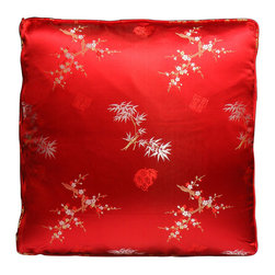 China Furniture and Arts - Silk Pillow - Cherry Blossom & Bamboo, Red - The cherry blossom and bamboo tree are brocaded on the luxurious red silk. Mix or arrange decoratively on a sofa, bed, or chaise. Zipper cover removes for dry cleaning.