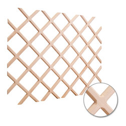 Hardware Resources - 25 x 45 Wine Lattice Rack with Bevel.Species: Alder - 25 x 45 Wine Lattice Rack with Bevel.  Species: Alder.  Sold individually.  Beveled moulding is 3/4 wide x 7/16 thick with routed face detail.  Bottle openings 3 3/4 x 3 3/4.