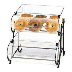 Cal Mil - 15.5W x 17.625D x 17.375H Iron Display with Round Nose Bins 2 Tier 1 Ct - These iron displays are a great way to attract your customers to your baked goods and breads Featuring both 2 and 3 tiers with round bins it draws customers in with its modern and unique display