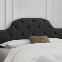 """Skyline Furniture - Button Tufted Upholstered Headboard - This contemporary headboard is embellished with brass nail buttons along the wings. This unique style headboard is inset by two upholstered wings. It's sure to add a modern look to any bedroom. Features: -Adds as an elegant focal point of any bedroom.-Deep diamond tufting and durable.-Easily attaches to standard metal bed frames (not included) and adjusts in height.-Requires a box spring and mattress (not included).-Spot clean only.-Handmade.-Made in the USA.-Button Tufted collection.-Gloss Finish: No.-Frame Material: Pine wood.-Upholstered: Yes.-Upholstery Material: Polyester-velvet blend.-Hardware Material: Steel.-Wall Mounted: Yes.-Reversible: No.-Media Outlet Hole: No.-Built In Outlets: No.-Hardware Finish: Black metal.-Finished Back: No.-Distressed: No.-Hidden Storage: No.-Freestanding: No.-Frame Included: No.-Drill Holes for Frame: Yes.-Commercial Use: No.-Recycled Content: No.Specifications: -EPP Compliant: No.-CPSIA or CPSC Compliant: Yes.-CARB Compliant: Yes.-JPMA Certified: No.-ASTM Certified: No.-ISTA 3A Certified: Yes.-PEFC Certified: No.-General Conformity Certificate: Yes.-Green Guard Certified: No.Dimensions: -Overall Height - Top to Bottom (Size: California King): 51"""".-Overall Height - Top to Bottom (Size: Full): 51"""".-Overall Height - Top to Bottom (Size: King): 51"""".-Overall Height - Top to Bottom (Size: Queen): 51"""".-Overall Height - Top to Bottom (Size: Twin): 51"""".-Overall Width - Side to Side (Size: California King): 74"""".-Overall Width - Side to Side (Size: Full): 56"""".-Overall Width - Side to Side (Size: King): 78"""".-Overall Width - Side to Side (Size: Queen): 62"""".-Overall Width - Side to Side (Size: Twin): 41"""".-Overall Depth - Front to Back (Size: California King): 4"""".-Overall Depth - Front to Back (Size: Full): 4"""".-Overall Depth - Front to Back (Size: King): 4"""".-Overall Depth - Front to Back (Size: Queen): 4"""".-Overall Depth - Front to Back (Size: Twin): 4"""".-Overall Product Weight (Size: Cal"""