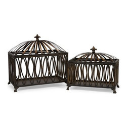 """IMAX - Fleur-de-Lis Boxes - Set of 2 - Eastern inspired antique bronze color metal boxes with open oval pattern Item Dimensions: (13.25-17.25""""h x 14.5-17.5""""w x 7.25-9.5"""")"""