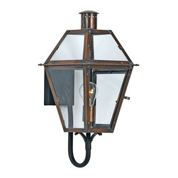 Quoizel - Quoizel Aged Copper Exterior - SKU: RO8410AC - From the Charleston Copper Lantern Collection, this piece gives you the historic look of gas lighting, but without the hassle of a propane feed. It is all electric, solid copper and hand riveted, giving your home the romantic, reproduction style of antique gas lights still popular today on many of the charming homes in New Orleans and Charleston.