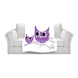 DiaNoche Designs - Fleece Throw Blanket by Susie Kunzelman - Owl Argyle Purple - Original Artwork printed to an ultra soft fleece Blanket for a unique look and feel of your living room couch or bedroom space.  DiaNoche Designs uses images from artists all over the world to create Illuminated art, Canvas Art, Sheets, Pillows, Duvets, Blankets and many other items that you can print to.  Every purchase supports an artist!