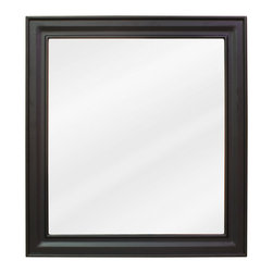 "Hardware Resources - Elements Bathroom Mirror - Black Jensen Mirror by Bath Elements. 22"" x 24"" black mirror with beveled glass. Corresponds with VAN049 and VAN063"