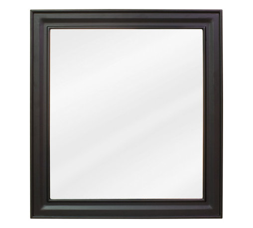 "Hardware Resources - Elements Bathroom Mirror - Black Jensen Mirror by Bath Elements 22"" x 24"" black mirror with beveled glass Corresponds with VAN049 and VAN063 -"