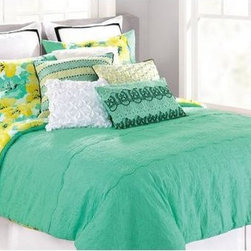 """Nanette Lepore - Nanette Lepore Cottage Fresh Comforter Set - Gorgeous turquoise comforter set with elegant details. The front features solid turquoise with a matelasse design and the back is a bold large scale floral in yellow, turquoise, black and white. Beautiful cotton floral bedding designed by Nanette Lepore.- 100% cotton - 400 thread count - Care: Machine wash and dry. - Zippers on shams. - King Comforter Set: King Comforter 96"""" x 110"""", Two King Shams 21"""" x 37"""" - Queen Comforter Set: Queen Comforter 92"""" x 96"""", Two Standard Shams 21"""" x 27"""""""